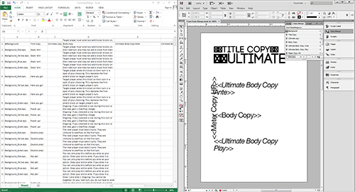 A side-by-side shot of using InDesign's Data Merge feature with a spreadsheet.